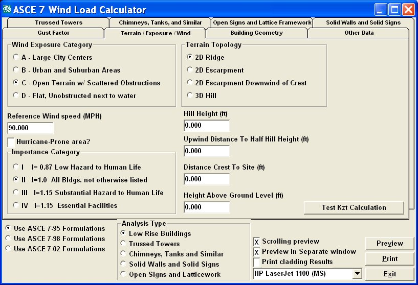 Screen shot of an ASCE 7 Wind Load Calculator Utility