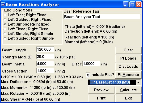 Screen shot of a utility to analyze the reactions of a beam under very complex loading and support schemes.