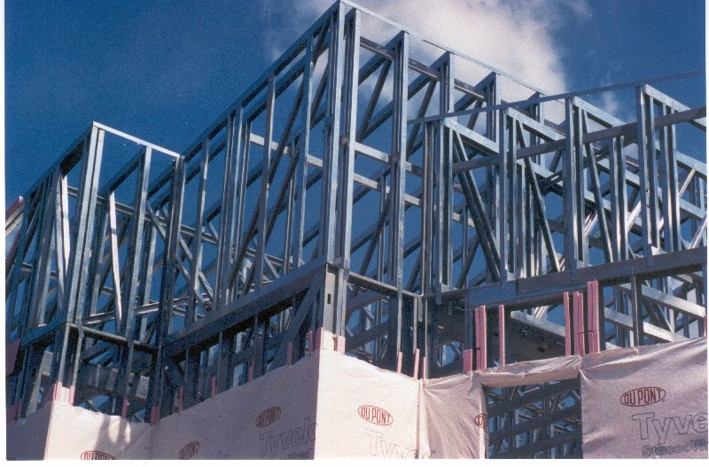 Two story cold-formed steel building under construction.