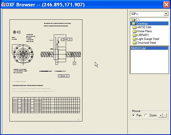 Screen shot of a browser tool associated with a software process which automated the creation of DXFs.
