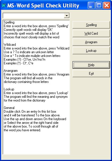 Screen shot of a utility to automate MS-WORD to help with spelling.